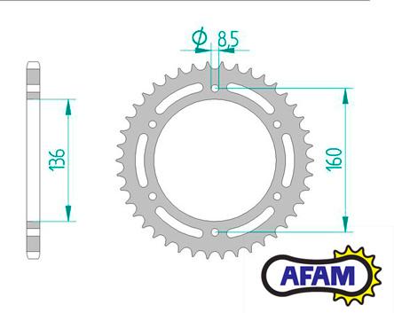 Afam Steel Rear Sprocket Aprilia Pegaso 660 Factory, Beta Jonathan 350  03-10, 520 chain, 44 teeth