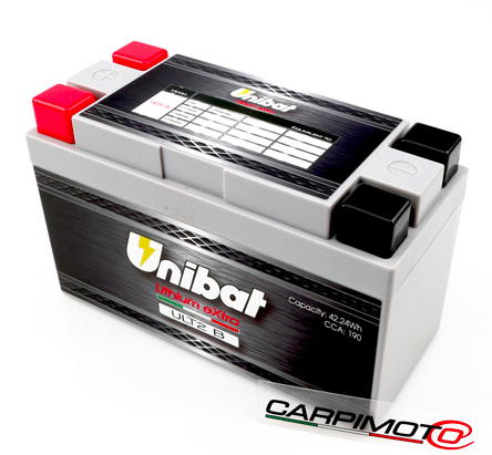 Unibat Lithium eXtra BMS Battery ULT2B, CCA 200, Capacity 3,3Ah, Weight 0,8 Kg, dim. 150x65x93mm