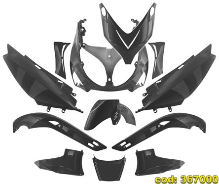 Yamaha TMAX 500 01-07 TNT Full Fairing Kit, 12 pieces, not coated Black