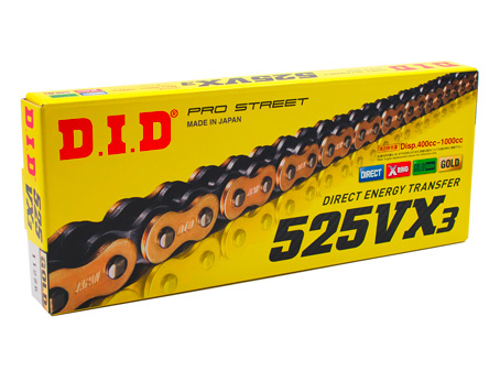 DID 525 x 124 Links VX Pro-Street Series Xring Sealed Natural Drive Chain