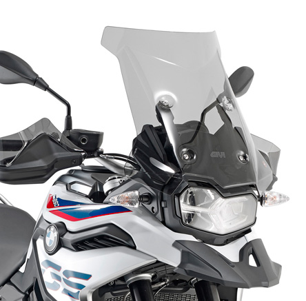 GIVI Windscreen for BMW F 750 GS, F 850 GS color light smoke, dim. HxW 44x47cm, 17cm higher than oe screen; only F 750 GS requires D5129KIT fitting kit