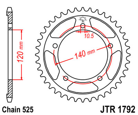 JT Sprockets Steel Rear Sprocket JTR1792 for Suzuki GSXR 600 01-05, GSX-R  750 06-10, Triumph Daytona 600, 525 Chain, 45 Teeth, Color Black