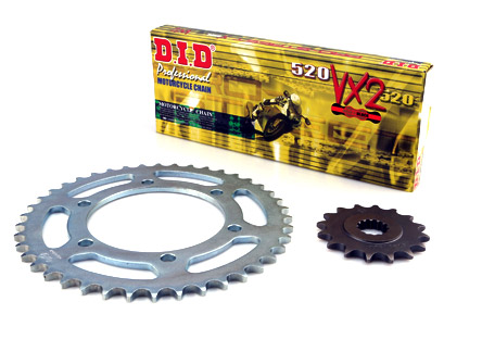 DID 520VX2 Chain & 15/45T Sprocket Kit Kawasaki Z750 + 2 teeth, Z800 13-, Z800 E, Z900 +1 tooth, DID 520 VX2 Chain Gold & Black, Links 114, Rear Sprocket 45 teeth, Front Sprocket 15 denti