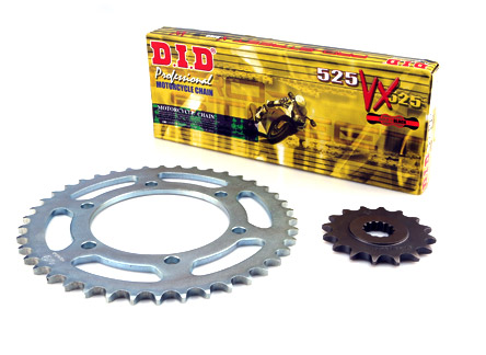 DID 525VX Chain & 16/45T Sprocket Kit Yamaha MT-09 / MT-09 ABS / MT-09 Tracer, XSR900, MT-07 / MT-07 ABS XSR700 +2, DID 525 VX Gold & Black Chain Links 110, Rear Spr. 45 teeth, Front Spr. 16 teeth