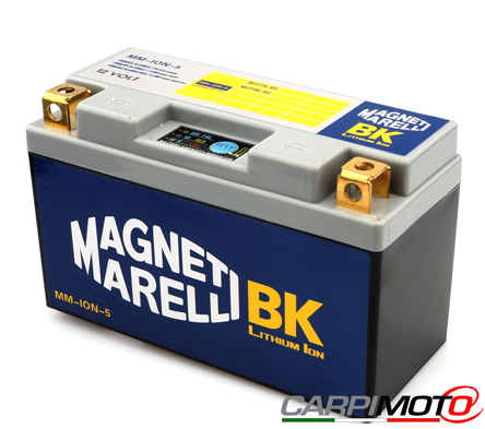 Magneti Marelli Lithium Battery MMY9B, CCA 190A, Weight 655 grams, equivalent YT9B-BS YT7B-BS ; LH polarity, 149x65x92, save 2,7/2 Kg on Yuasa YT9B-BS YT7B-BS (Ducati Panigale)