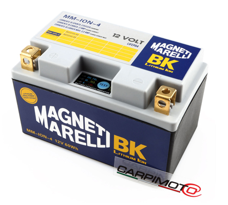Magneti Marelli Lithium Battery MMYZ14S, CCA 270A, Weight 1,1 Kg, equivalent YTX14-BS YTZ14S YTZ12S YTX14-BS; LH polarity, 150x87x93mm, save 3,5 Kg on Yuasa YTX14-B, box includes 2 spacers