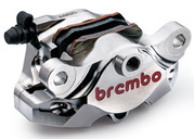 Brembo Rear Caliper SuperSport CNC P2 34, Nickel finish, with pads, for Aprilia e Ducati stock bracket