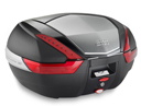 Givi V47N Top Case, color Black with aluminum pattern finishing and Red reflectors, 47 Liters, fits MonoKey plate