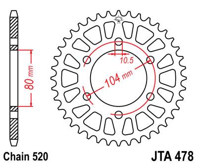 JT Sprockets JTA478.42 Aluminium Rear Sprocket