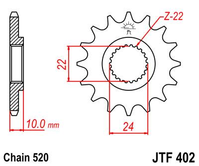 BMW F650 Funduro 96-00 JT Front Sprocket JTF402 16 Teeth