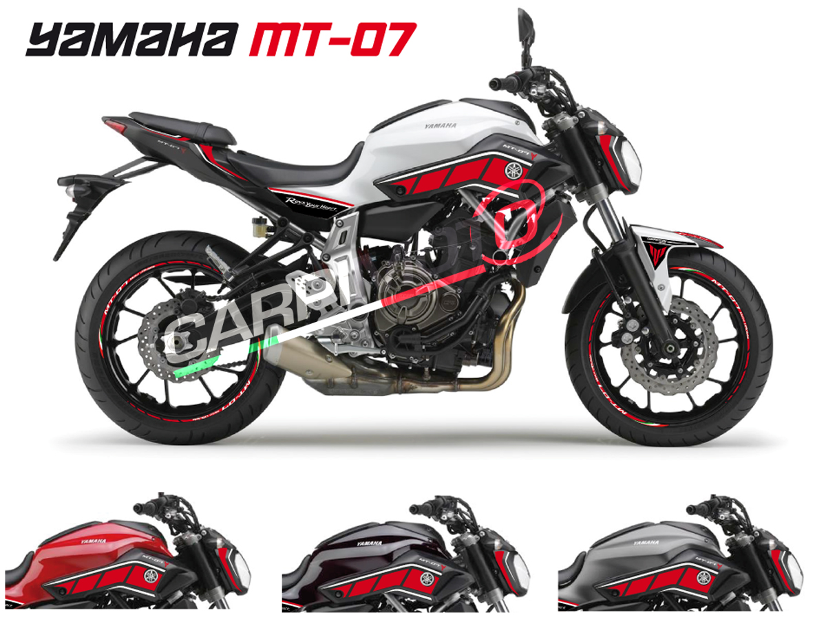 Complete stickers for yamaha mt 07 color red white for Autocolant mural