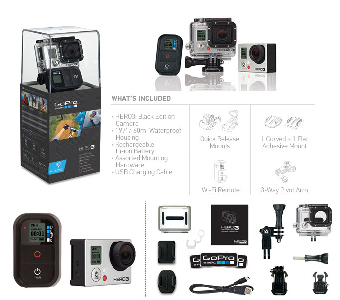 gopro chdhx 301 gopro hd hero 3 black edition. Black Bedroom Furniture Sets. Home Design Ideas